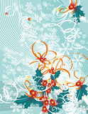 Winter grunge background. Winter holiday background with snowflakes, leaves and ribbons,  illustration in green, red and orange colors Royalty Free Stock Photo