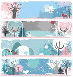Winter grunge banners Royalty Free Stock Images