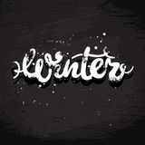 Winter grunge lettering Stock Photos