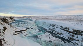 Winter in Gullfoss-Wasserfall in Island Lizenzfreie Stockbilder