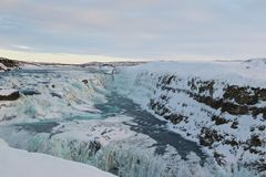 Winter in Gullfoss-Wasserfall in Island Lizenzfreie Stockfotografie