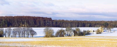 Winter hamlet. A small village near the forest Stock Images