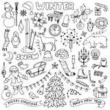 Winter hand drawn doodle set Stock Photos