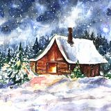 Winter hand drawn landscape with house. Original watercolor painting with wood cabin in the forest and falling snow. stock illustration