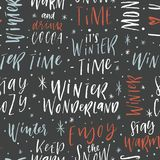 Winter hand drawn seamless background with calligraphy Royalty Free Stock Photos