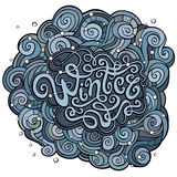 Winter hand lettering with curled background. Royalty Free Stock Photo