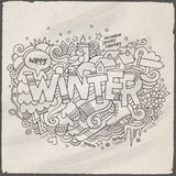 Winter hand lettering and doodles elements Stock Images