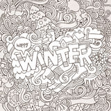 Winter hand lettering and doodles elements Royalty Free Stock Images