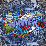 Winter hand lettering and doodles elements Royalty Free Stock Photos