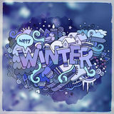 Winter hand lettering and doodles elements Royalty Free Stock Photo