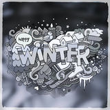 Winter hand lettering and doodles elements Stock Photos