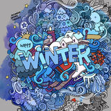 Winter hand lettering and doodles elements Royalty Free Stock Photography