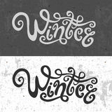 Winter hand lettering - handmade calligraphy, Royalty Free Stock Image