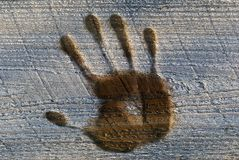 Winter hand print Royalty Free Stock Photography