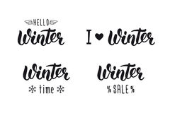 Winter handlettering set. Winter logos and emblems for invitation, greeting card, t-shirt, prints and posters. Hand drawn winter i. Nspiration phrase. Vector royalty free illustration