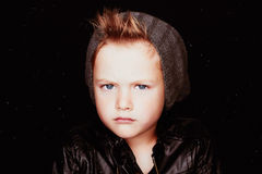 Winter handsome boy.Funny child in hat.fashionable little boy Stock Image
