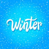 'Winter' handwritten text on snow background, banner, vector illustration Stock Image