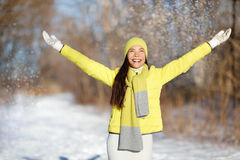 Winter happiness freedom woman with arms up Stock Images