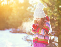 Winter happy smiling little girl child over sunny snowy stock photos