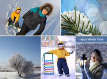 Winter happy time collage Stock Photo