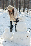 Winter Happy Woman And Snowman Stock Image