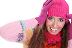 Winter happy young woman Royalty Free Stock Images