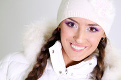 Winter happy young woman Stock Images