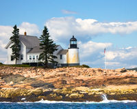 Winter Harbor Lighthouse Stock Images