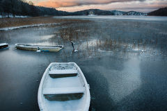 Winter harbor Stock Photos
