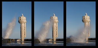 Winter in the harbour. Triptych Stock Image