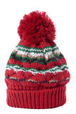 Winter knit or bobble hat, red pattern wool, isolated on white background Stock Images