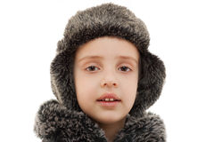 Winter hat fur hood kid portrait closeup isolated Royalty Free Stock Images