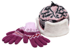 Winter hat with fur and violet gloves Stock Photos