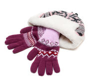 Winter hat with fur and violet gloves Royalty Free Stock Images