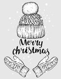 Winter hat and gloves. Knitted mittens. Vector illustration for a postcard or a poster, print for clothes. New Year`s and Christmas. Festive postcard Royalty Free Stock Images