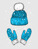 Winter hat and gloves. Knitted mittens. Vector illustration for a postcard or a poster, print for clothes. New Year`s and Christmas. Festive postcard Royalty Free Stock Photo