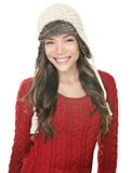 Winter hat happy girl Royalty Free Stock Images