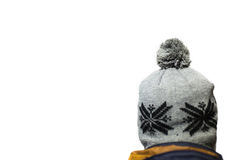 Winter hat on a head. Isolated Stock Photo