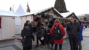 Winter hat market people stock footage