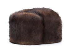 Winter hat Mink. Mink fur hat on a white background Stock Photography