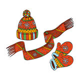 Winter hat, mittens and scarf. Vector illustration Stock Image