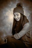 Winter Hat modelo femenino afroamericano y bufanda Imagen de archivo libre de regalías