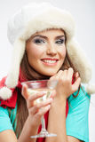 Winter hat and red scarf on young happy woman. Royalty Free Stock Photography