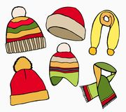 Winter hat, scarves Stock Images