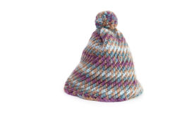 Winter hat in wool. Knit hat on white background Stock Photos