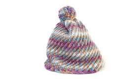 Winter hat in wool. Knit hat on white background Royalty Free Stock Photo