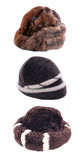 Winter hats. Winter hat set for woman, isolated Royalty Free Stock Images