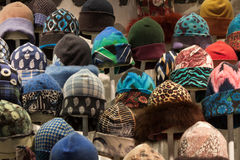 Winter hats on display at Mipap trade show in Milan, Italy Royalty Free Stock Photo