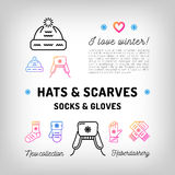 Winter Hats and Scarfs, Socks, Gloves, Mittens. Trendy haberdashery Stock Photography