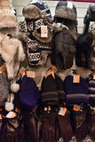 Winter hats in the store Royalty Free Stock Images